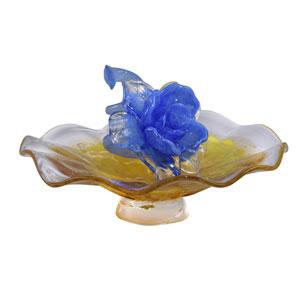 Blue Flower Hand Blown Art Glass Sculpture