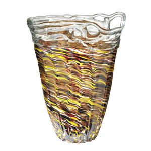 Hand Blown Art Glass 10-Inch Saffron Vase