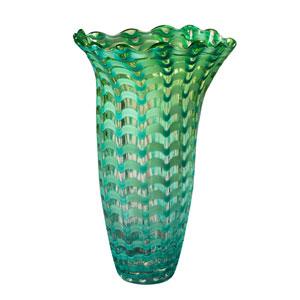 Hand Blown Art Glass 9-Inch Waterfront Vase
