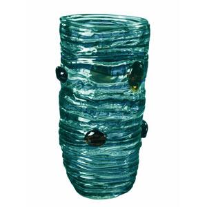 Hand Blown Art Glass 7-Inch Blue Vase