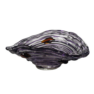 Hand Blown Art Glass 13-Inch Amethyst Bowl