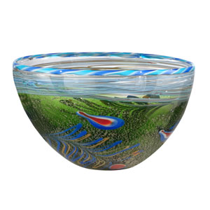 Hand Blown Art Glass 12-Inch Moss And Feather Bowl