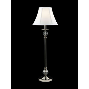 Polished Chrome Crystal Buffet Lamp with Fabric White Shade