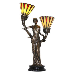 Dione Cold Cast Bronze and Tiffany Two-Light Accent Lamp