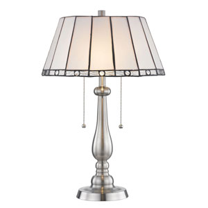 Adrianna Brushed Nickel and Tiffany Two-Light Table Lamp
