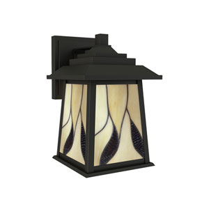 Geologic Oil Rubbed Bronze and Tiffany Outdoor Wall Sconce