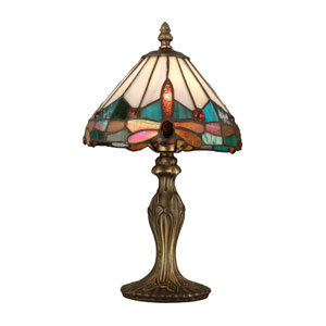 Antique Brass Plating Tiffany Jewel Dragonfly Accent Lamp