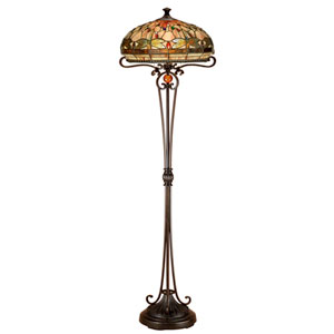 Antique Bronze 19-Inch Two-Light Briar Dragonfly Floor Lamp