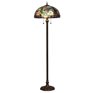 Josef Antique Bronze and Tiffany Two-Light Torchier Floor Lamp