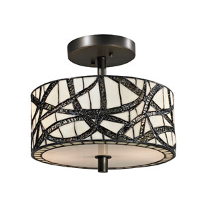 Willow Cottage Dark Bronze Two Light 11-Inch Flush Mount