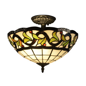 Tiffany Bronze 14-Inch Two-Light Reveli Semi Flush Mount