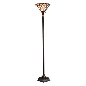 Fieldstone 14-Inch One-Light Peacock Tiffany Torchiere Floor Lamp