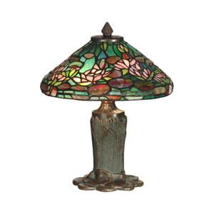 Antique Bronze Verde Floral Leaf Tiffany Table Lamp