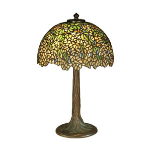 Antique Bronze Verde Wisteria Tiffany Table Lamp