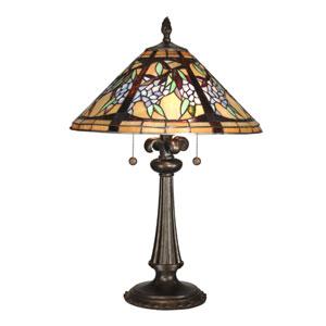 Antique Bronze Paint Floral Branch Tiffany Table Lamp