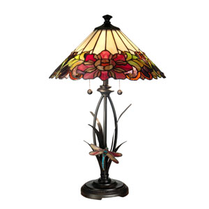 Antique Bronze Paint Floral With Dragonfly Tiffany Table Lamp