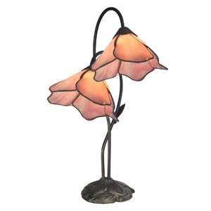 Poelking Dark Antique Bronze Two Light Pink Lily 21-Inch Table Lamp