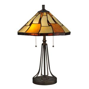 Dark Bronze 16-Inch Two-Light Nero Tiffany Table Lamp