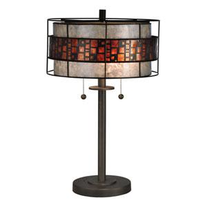 Dark Bronze 14-Inch Two-Light Cobblestone Table Lamp