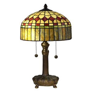 Mayor Island Antique Bronze and Tiffany Two-Light Table Lamp