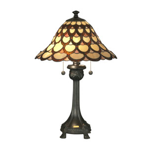 Antique Bronze 16-Inch Two-Light Peacock Table Lamp