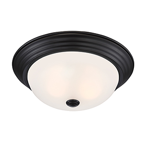 Oil Rubbed Bronze 13-Inch Two-Light Flushmount