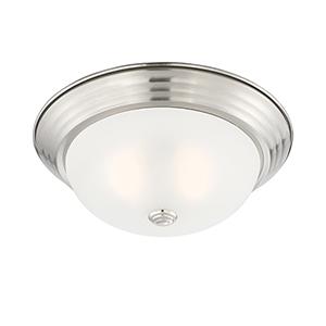 Satin Platinum 13-Inch Two-Light Flushmount