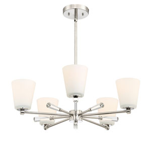 Abree Polished Nickel Five-Light Chandelier