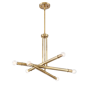 Emmett Old Satin Brass Six-Light Chandelier