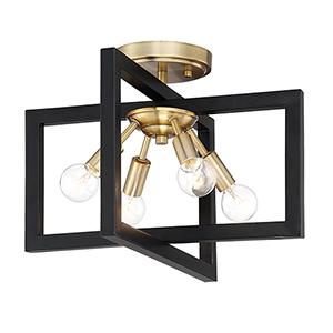 Xander Aged Warm Brass Four-Light Semi-Flush