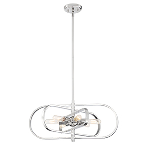 Kenzo Polished Nickel Six-Light Chandelier
