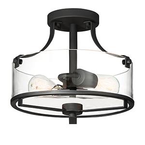 Jedrek Black Two-Light Semi-Flush