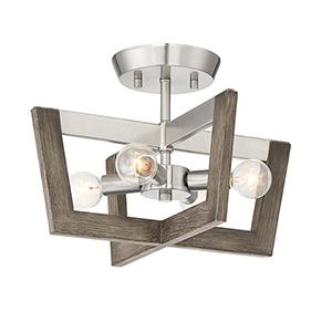 Westend Satin Platinum Four-Light Semi-Flush
