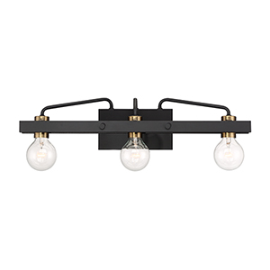 Ravella Black 24-Inch Three-Light Bath Vanity