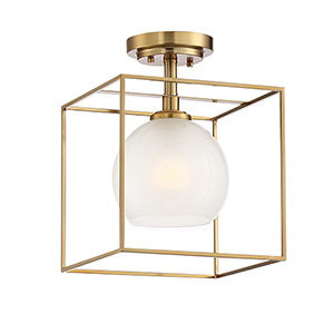 Cowen Brushed Gold One-Light Semi-Flush