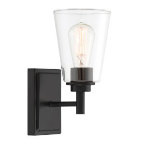 Westin Matte Black One-Light Wall Sconce with Clear Glass