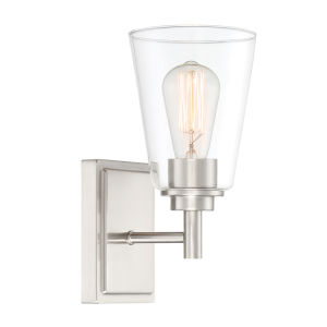 Westin Satin Platinum One-Light Wall Sconce with Clear Glass