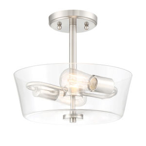 Westin Satin Platinum Two-Light Semi-Flush Mount with Clear Glass