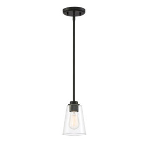 Westin Matte Black One-Light Mini Pendant with Clear Glass