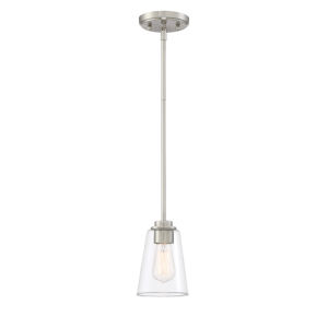 Westin Satin Platinum One-Light Mini Pendant with Clear Glass