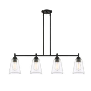 Westin Matte Black Four-Light Island Pendant with Clear Glass