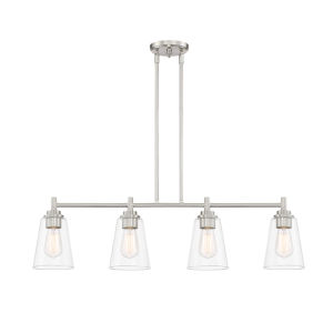 Westin Satin Platinum Four-Light Island Pendant with Clear Glass