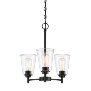 Westin Matte Black Three-Light Chandelier with Clear Glass