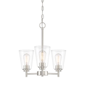 Westin Satin Platinum Three-Light Chandelier with Clear Glass