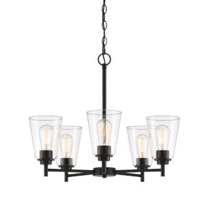 Westin Matte Black Five-Light Chandelier with Clear Glass