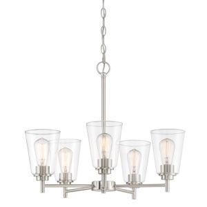 Westin Satin Platinum Five-Light Chandelier with Clear Glass