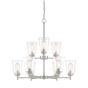Westin Satin Platinum Nine-Light Chandelier with Clear Glass