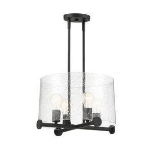 Matteson Matte Black Four-Light Pendant with Clear Seedy Glass