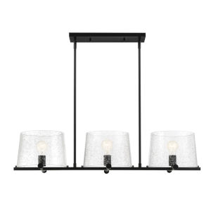 Matteson Matte Black Three-Light Island Pendant with Clear Seedy Glass