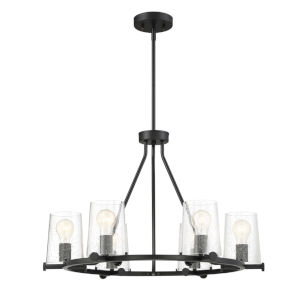 Matteson Matte Black Six-Light Chandelier with Clear Seedy Glass